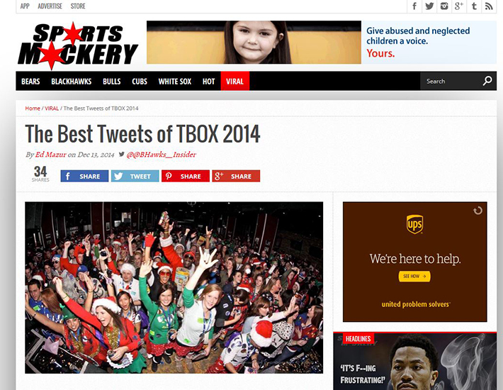 TBOX Press Coverage - TBOX 2014 Tweets Featured in Sports Mockery Website