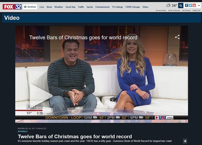 Fox TV Television Show Chris Festa 2017 TBOX 12 Bars of Xmas Pub Crawl Chicago Bar Crawl Twelve Bars of Xmas Bar Crawl in Wrigleyville