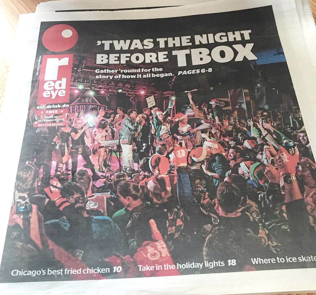 TBOX Press Coverage, TBOX on Cover of RedEye Newspaper, TBOX Red Eye, TBOX Chicago Tribune, 12 Bars of Christmas, Christmas Pub Crawl, Christmas Bar Crawl, T-BOX, Christopher Festa