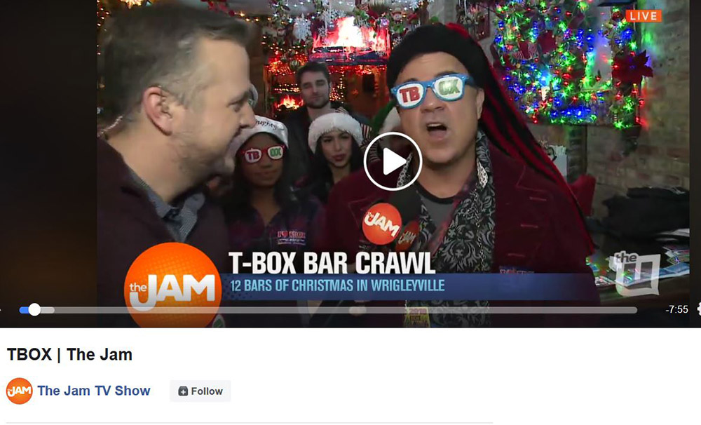 TBOX Famous - TBOX Bar Crawl - TBOX Pub Crawl - 12 Bars of Xmas Press - WCIU The Jam TBOX2019 TBOX2019 TBOX2020 T-BOX 12 Bars of Xmas