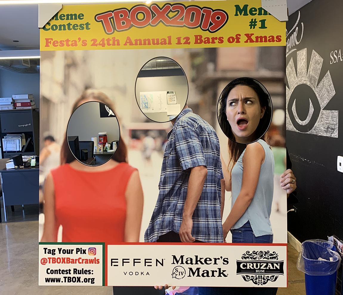 TBOX 2019 - Meme Themed Bar Crawl - FACE IN THE HOLE Board