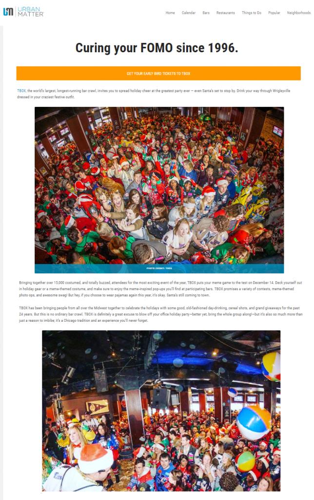 Urban Matter Screenshot TBOX 2019 12 Bars of Xmas Chicago Bar Crawl December 14