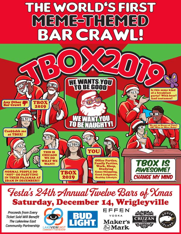 TBOX 2019 Poster - Twelve Bars of Xmas in Wrigleyville - Chicago Christmas Crawl - Chicago Xmas Pub Crawl