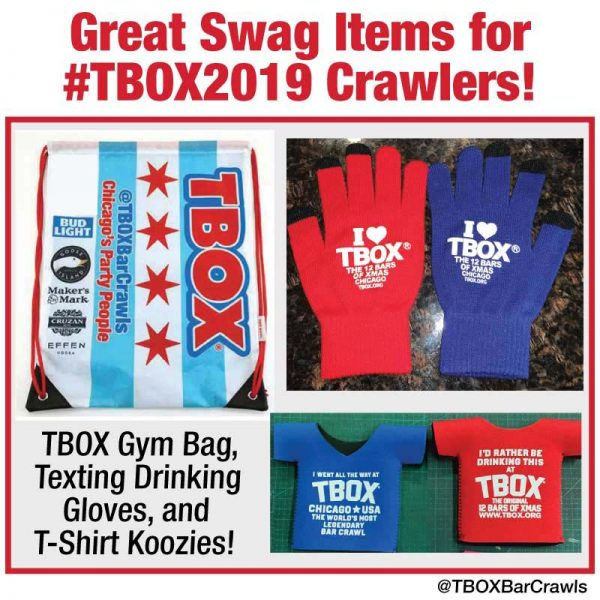 TBOX 2019 TWELVE BARS OF XMAS BAR CRAWL SWAG ITEMS