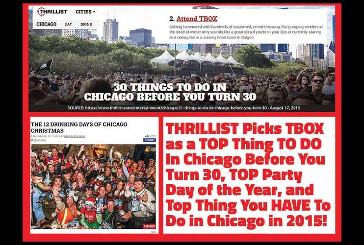 TBOX Bar Crawl in Thrillist - 12 Bars of Xmas, a Chicago Bucket List Event