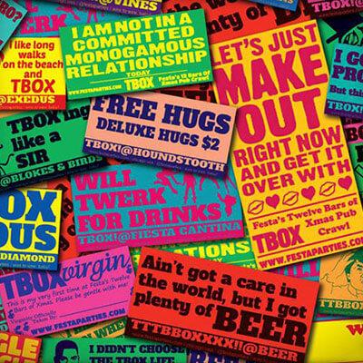 TBOX Bar Crawl Stickers
