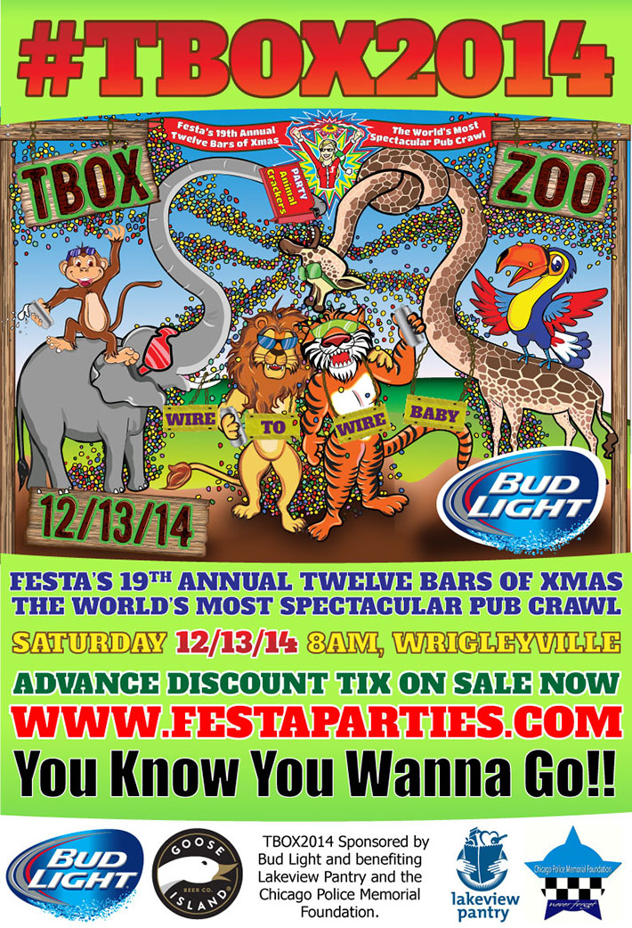 TBOX Zoo - 2014 Chicago Pub Crawl, 12 Bars of Xmas