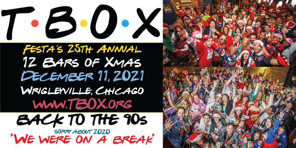 TBOX Bar Crawl - 12 Bars of Christmas 2021 Chicago Wrigleyville Pub Crawl by Festa Parties