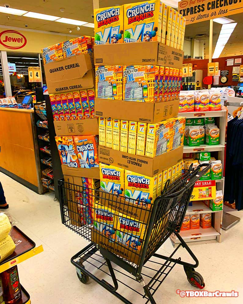 Cereal Shopping at Jewel for TBOX Christmas Pub Crawl