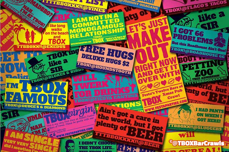 A Montage of Stickers from Our Promo for TBOX 2014 - 12 Bars of Christmas Crawl - Chicago Events