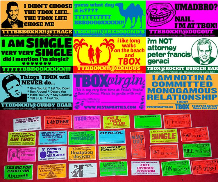 Fun Sticker Montage - 2014 - T-Box TBOX 12 Bars of Christmas Crawl
