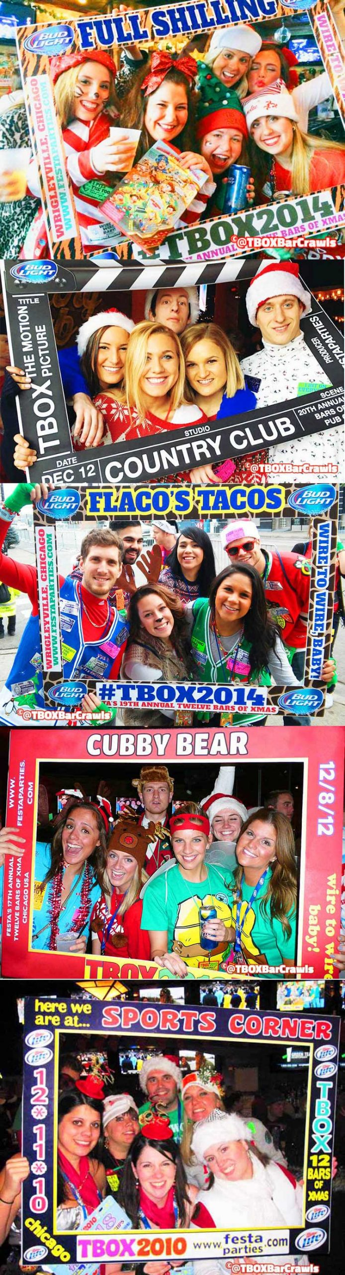 Frames Montage - TBOX Bar Crawl - Chicago Fun - Chicago Events - Wrigley Pub Crawl