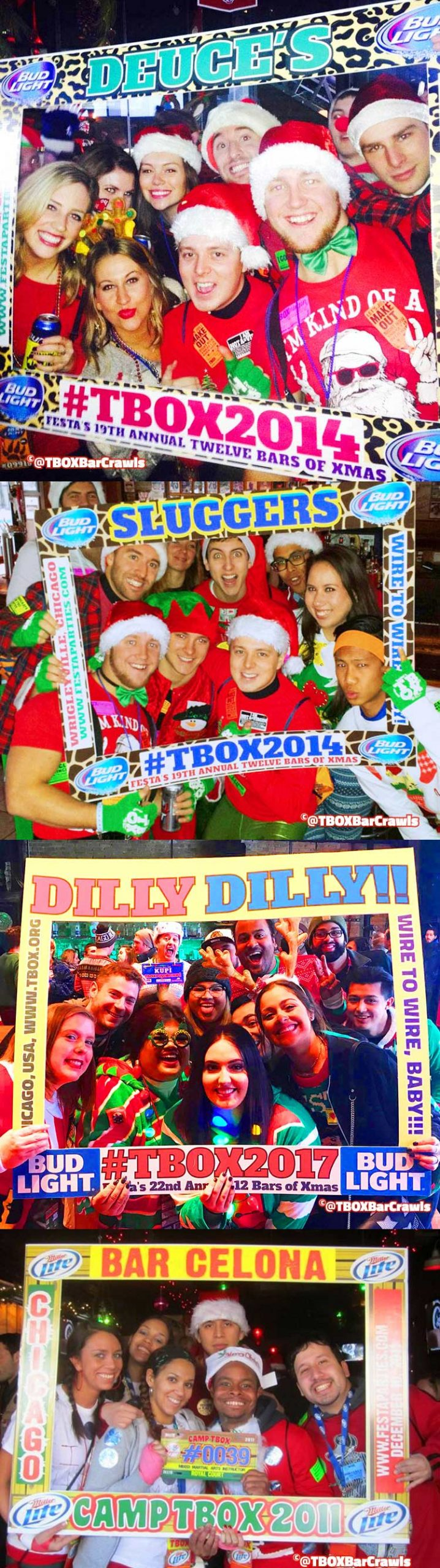 TBOX Picture Frames Montage - Fun at the 12 Bars of Xmas Chicago Pub Crawls